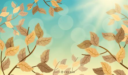 Illustrated autumn leaves in the sky