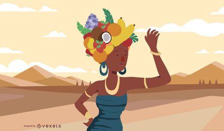 Mulher africana, com, fruta