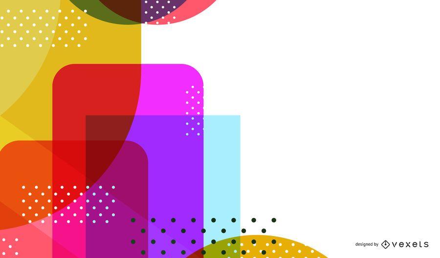 Design de cenário de formas abstratas coloridas brilhantes