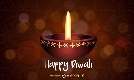 Diseño feliz de la lámpara de aceite de Diwali