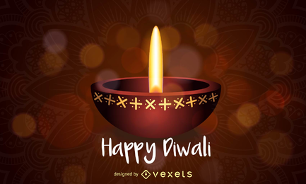 Projeto feliz da lâmpada de óleo de Diwali