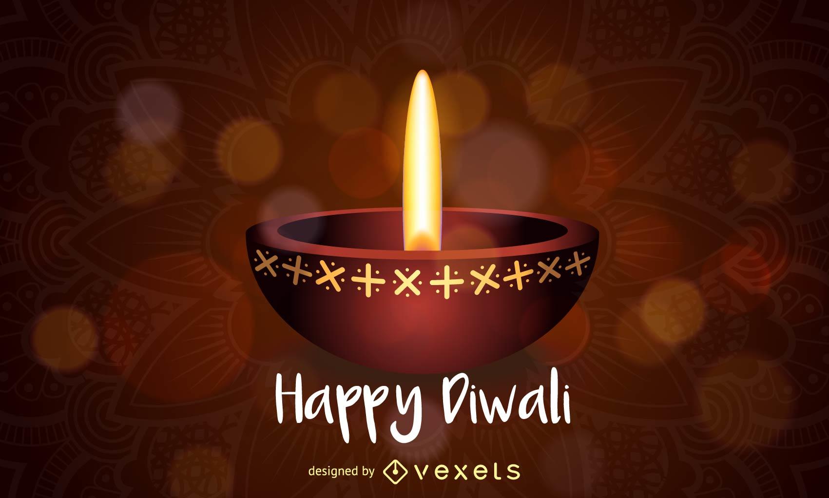 Diseño de lámpara de aceite Happy Diwali