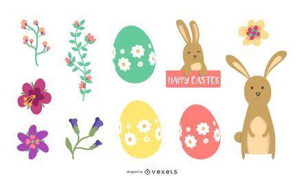 Conjunto de elementos de Pascua de dibujos animados