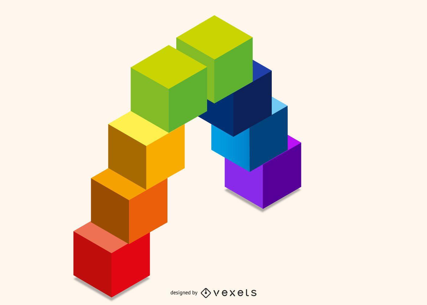 3D rainbow cubes design