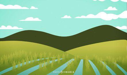 Rice Fields Landscape Illustration