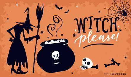Bruja por favor diseño de carteles de Halloween