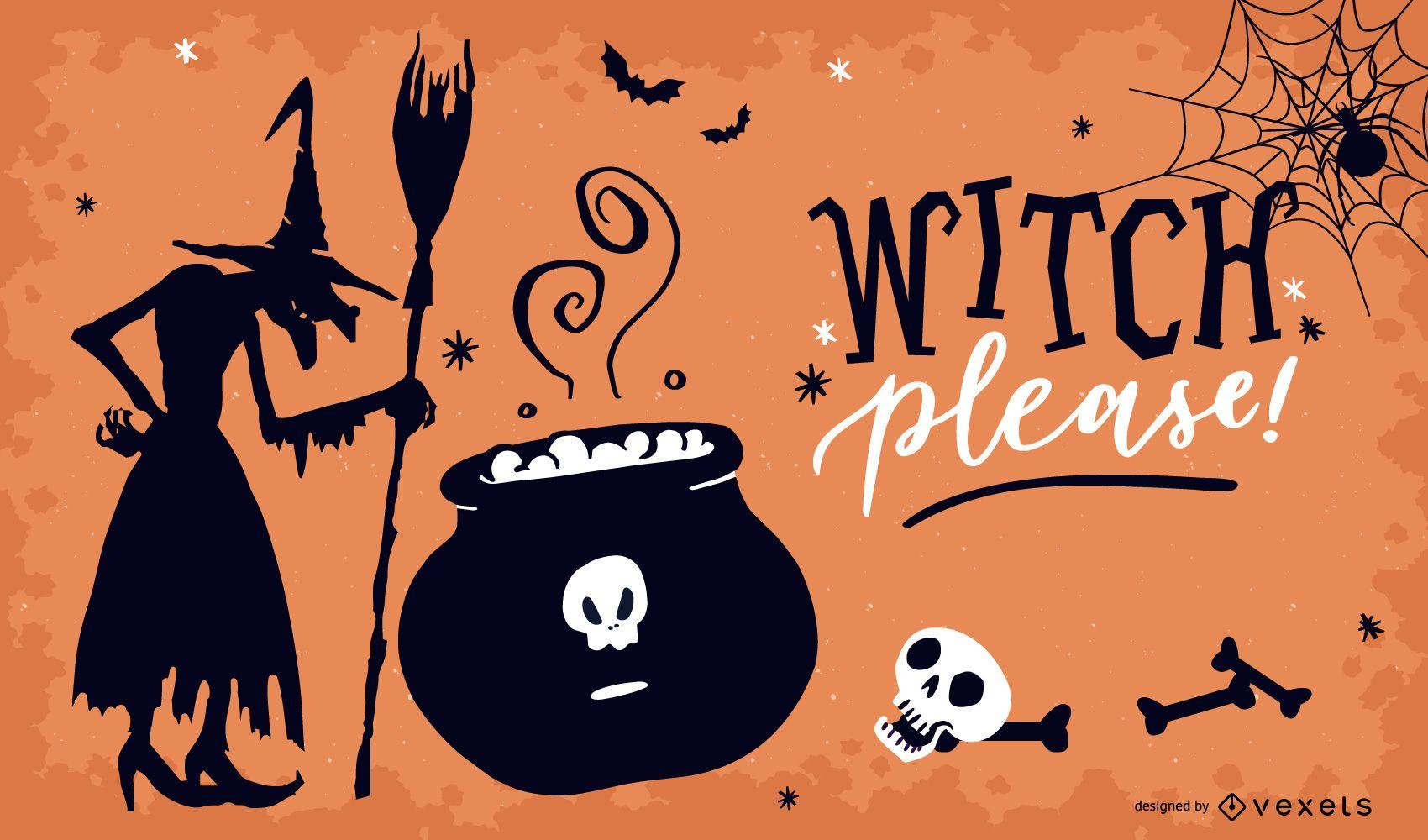 Bruxa por favor design de pôster de Halloween