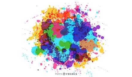 Rainbow Color Abstract Splatter