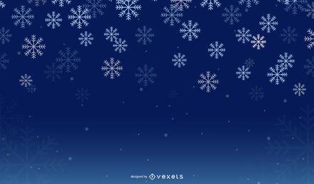 Fondo de invierno de copo de nieve de noche