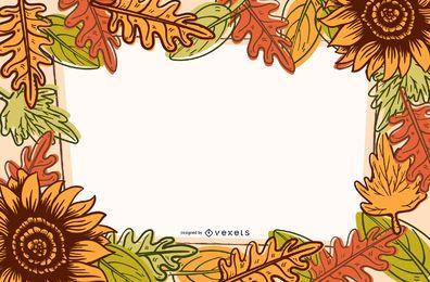 Quadro de folhas e flores de outono colorido