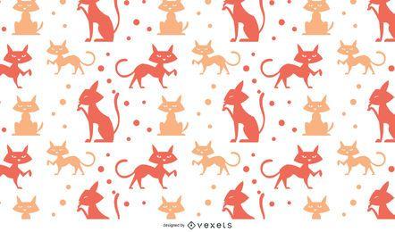 Katzenmuster mit Punkten und Silhouetten
