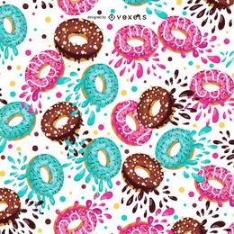 Diseño de patrón ilustrado donuts