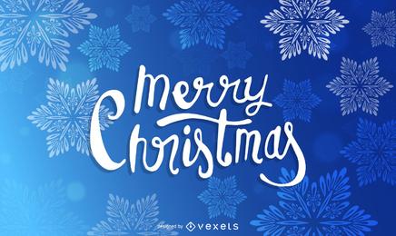 Cartaz de floco de neve de Natal em azul