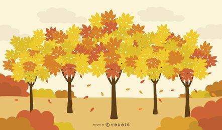 Fall Trees Grove Illustration Landscape