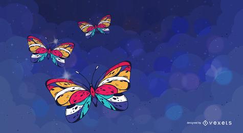 Cenário colorido de borboletas ilustradas