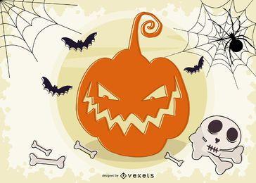 Diseño de fondo de calabaza tallada de Halloween