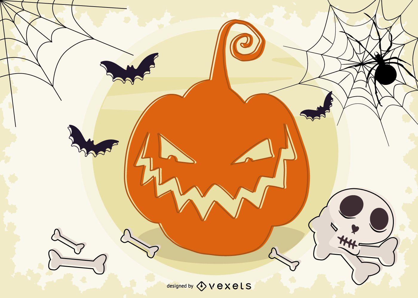 Halloween Carved Pumpkin Background Design
