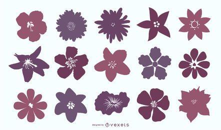 Fondo de siluetas de flores moradas