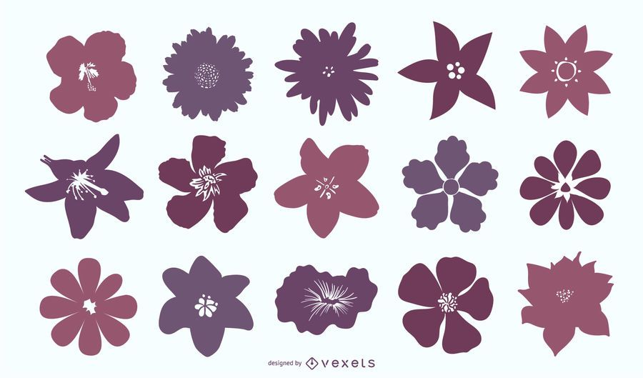 Purple flowers silhouettes background