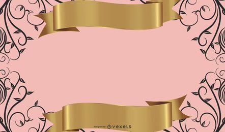 Modelo de design de bandeira de ouro preto rosa