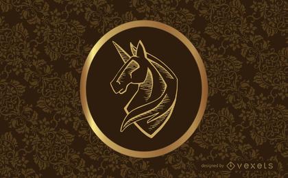 Diseño clásico vintage con remolinos y unicornio.