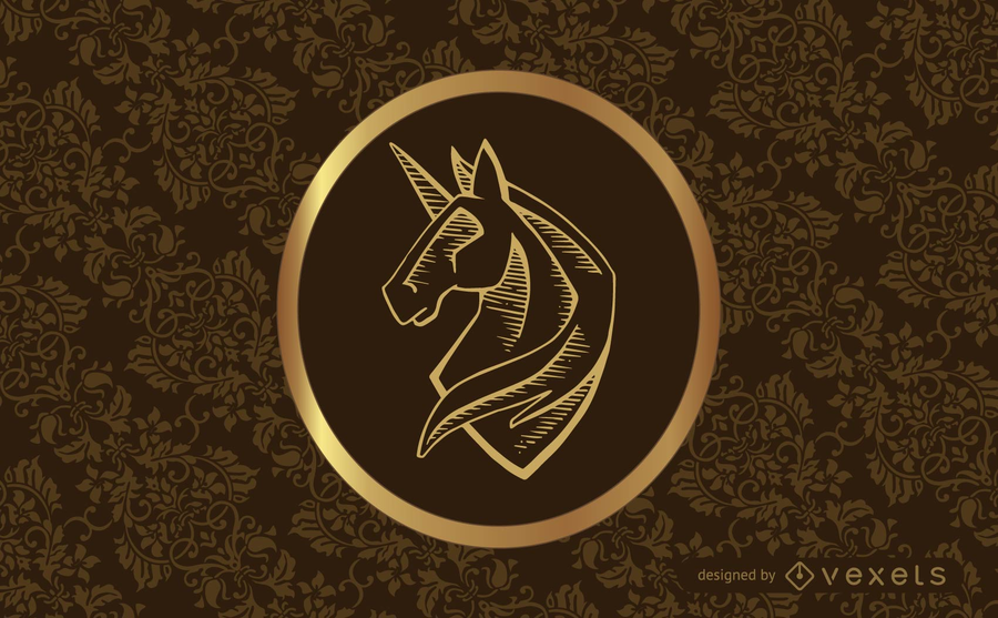 Vintage classic design with swirls and unicorn