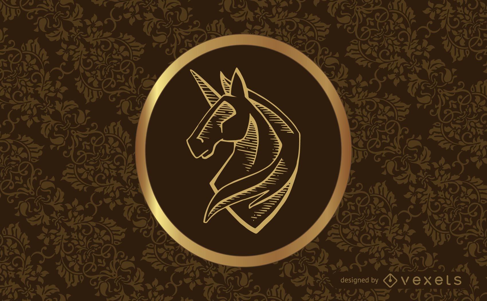 Vintage classic design with swirls and unicorn