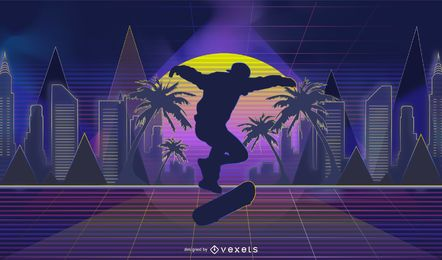 Skateboarding illustration in neon