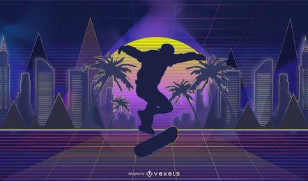 Skateboarding retrowave illustration