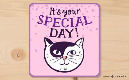 Feliz aniversário desenho animado gato