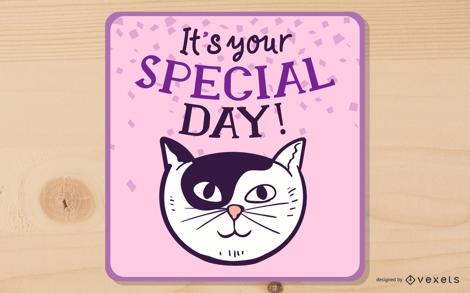 Happy Birthday cartoon cat design