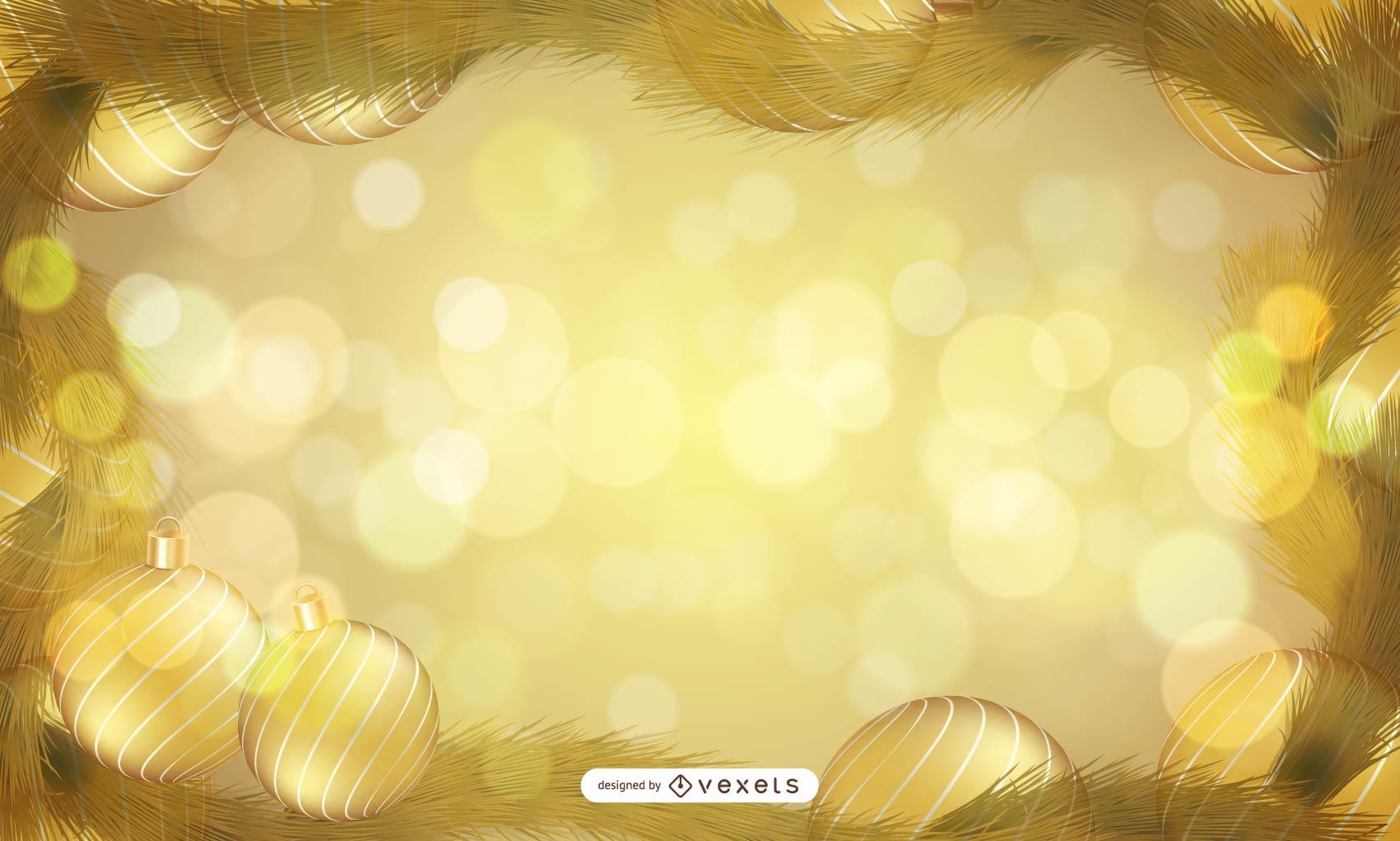 Christmas golden frame background