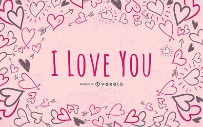 Doodle de fondo de San Valentín