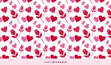 Valentine Background Roses und Herzen