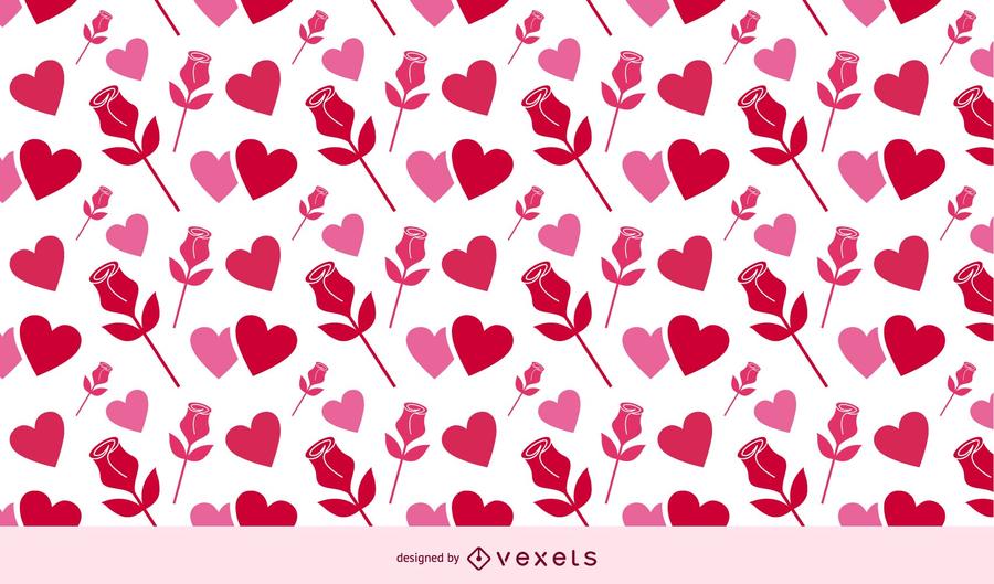 Rosas e corações do fundo do Valentim