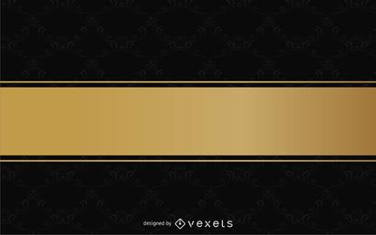 Diseño vintage con cinta dorada y estampado.