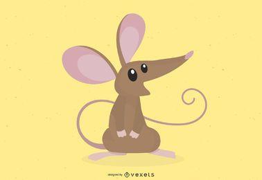 Desenho fofo de rato marrom