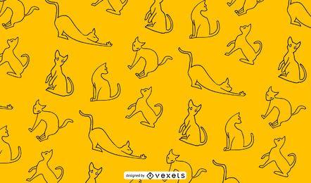 Hand gezeichnetes nahtloses Musterdesign der Katze