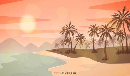 Summer Beach Sunset Landscape Design