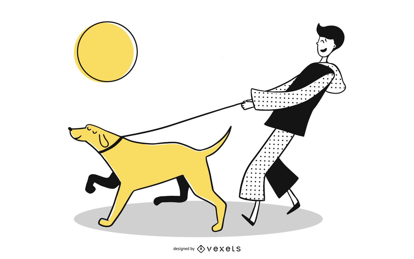 Young man walking dog