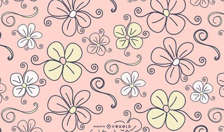 Flowers and swirls background in pink