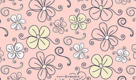 Fondo de flores y remolinos en rosa