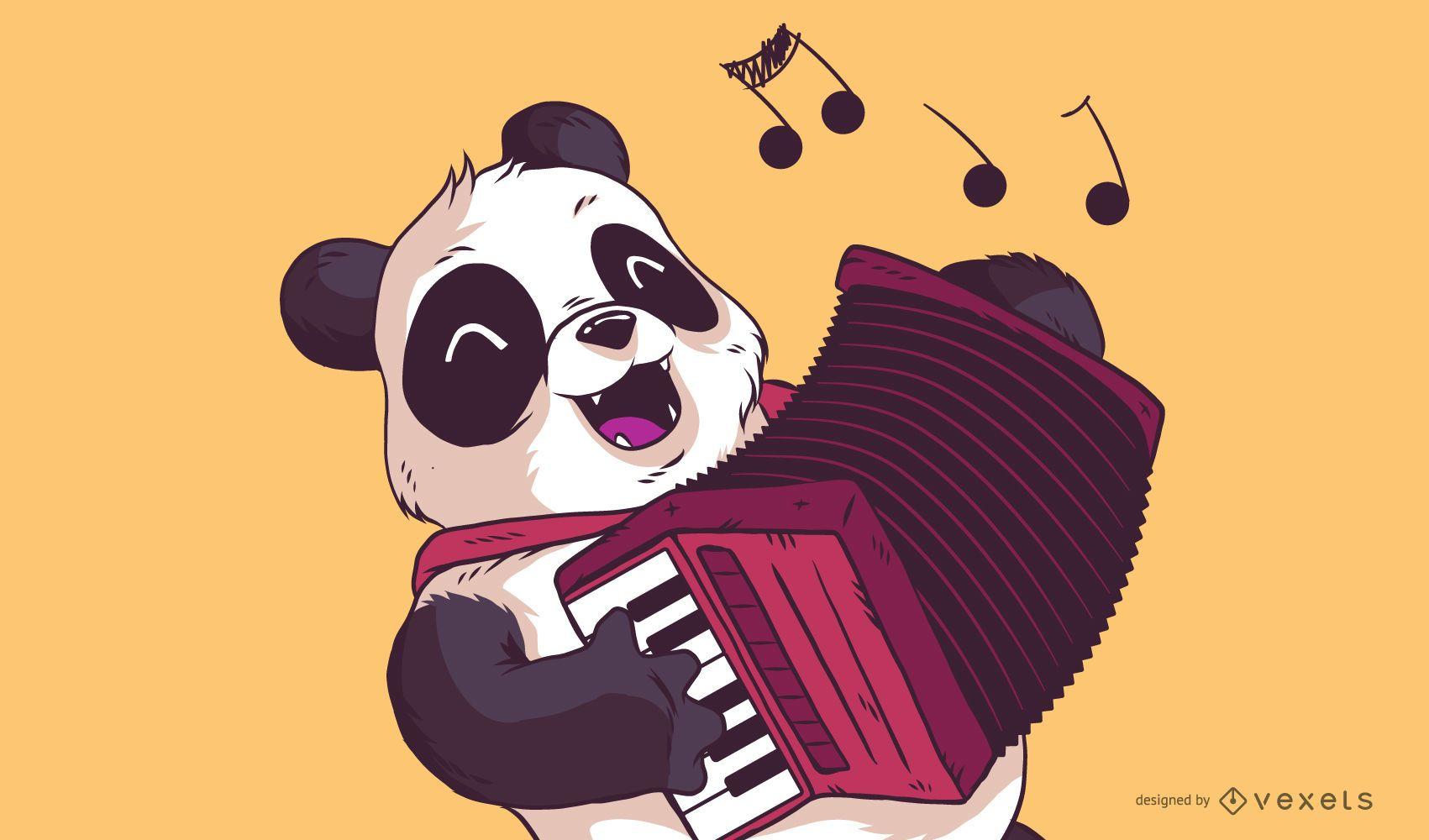 ilustração panda tocar acordeão