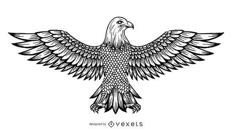 Desenho de linha do vetor da águia