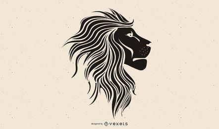 black lion head illustration design