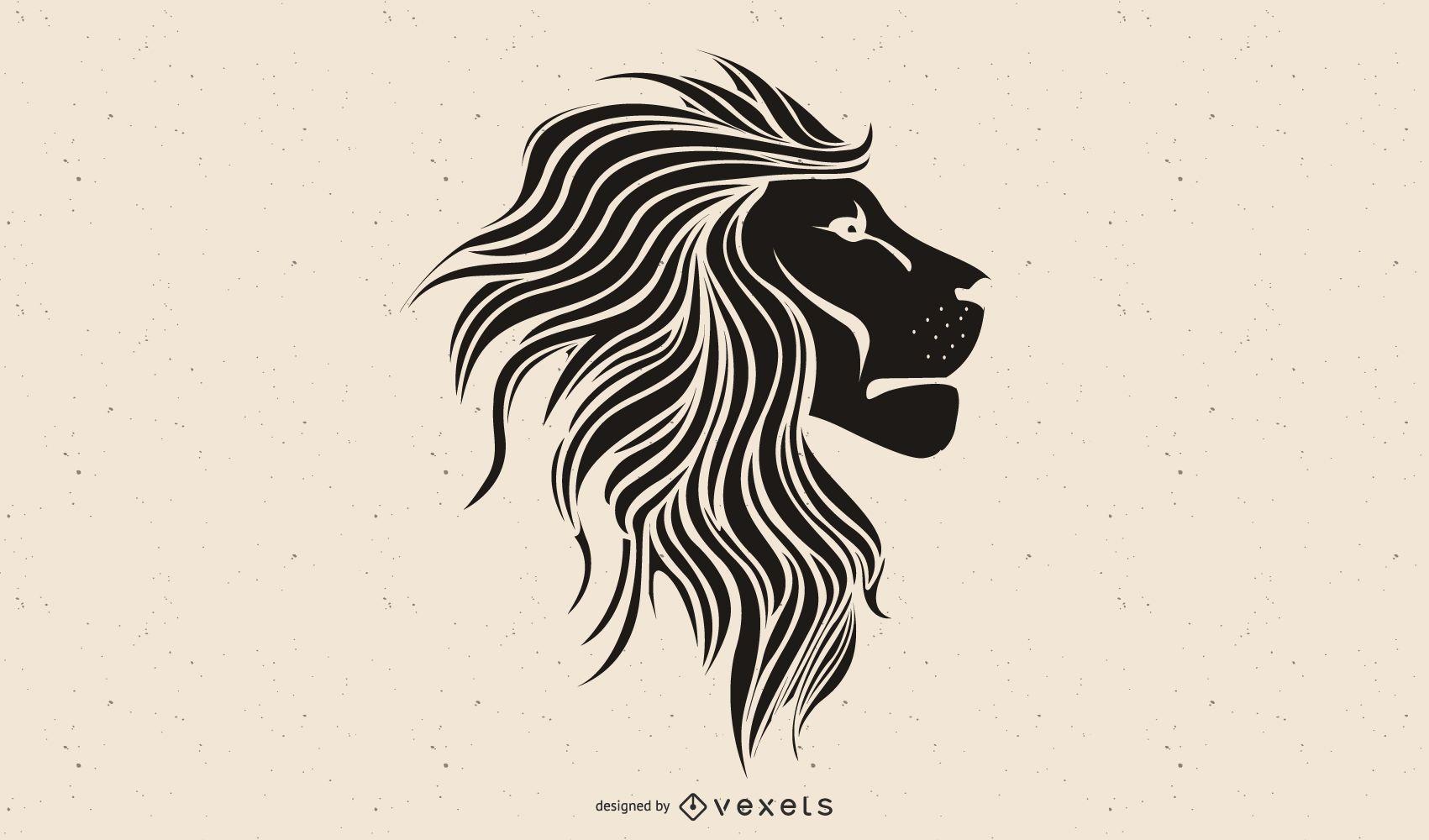 diseño de ilustración de cabeza de león negro