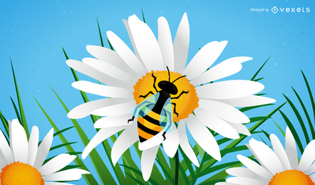Vetor de abelha e flor
