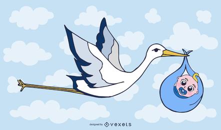 Cigüeña que lleva un bebé vector