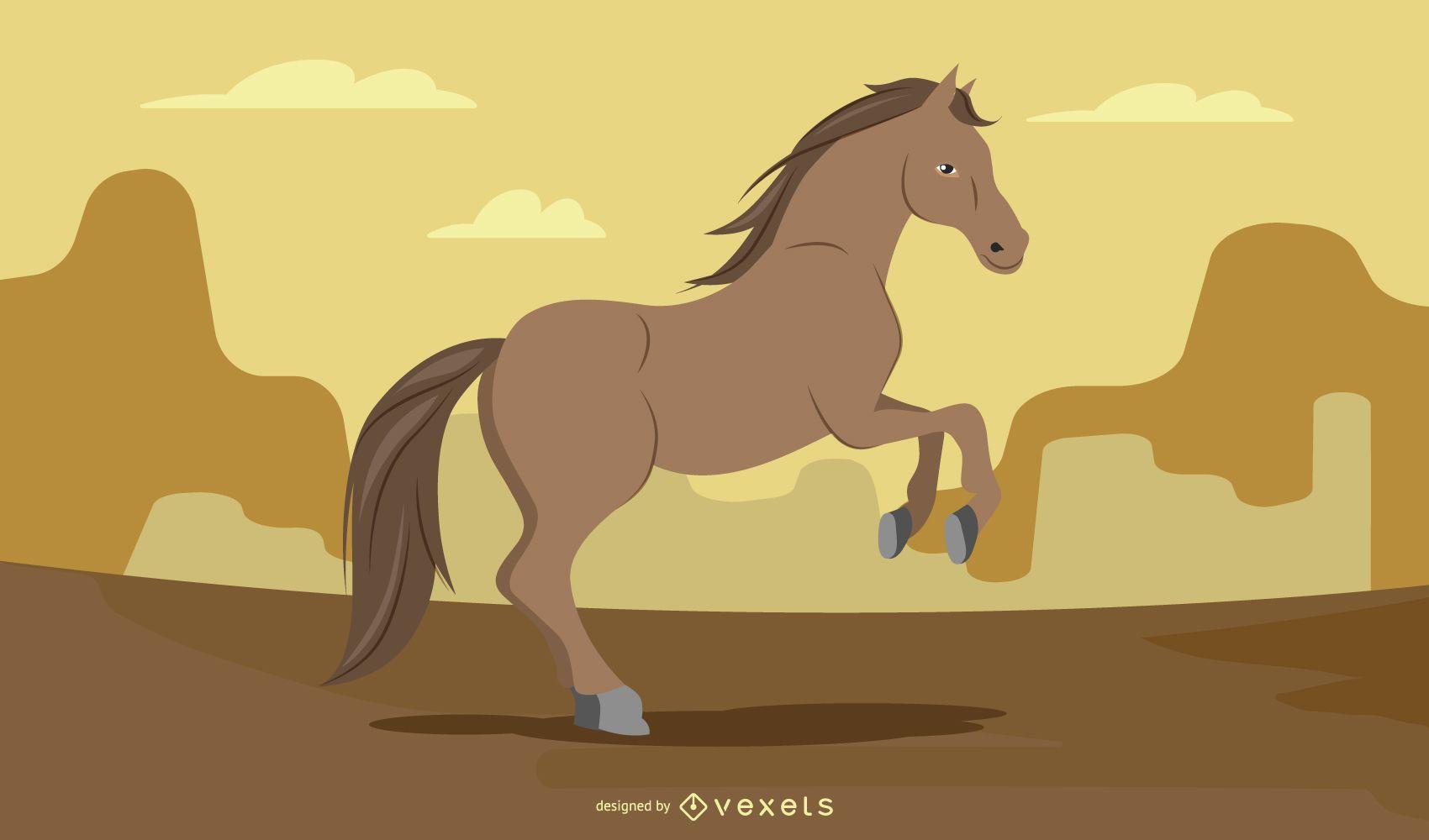 Rearing Brown Horse Illustration