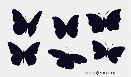 Conjunto de siluetas de mariposa